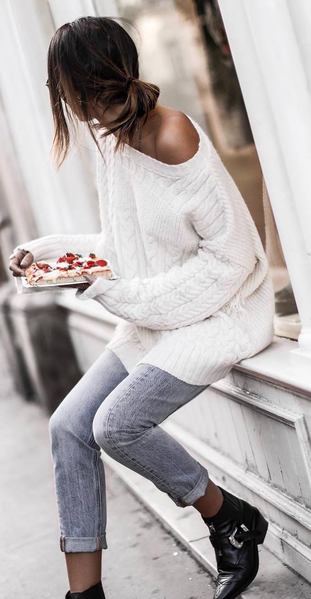winter outfit inspiration / one shoulder knit sweater + jeans + boots