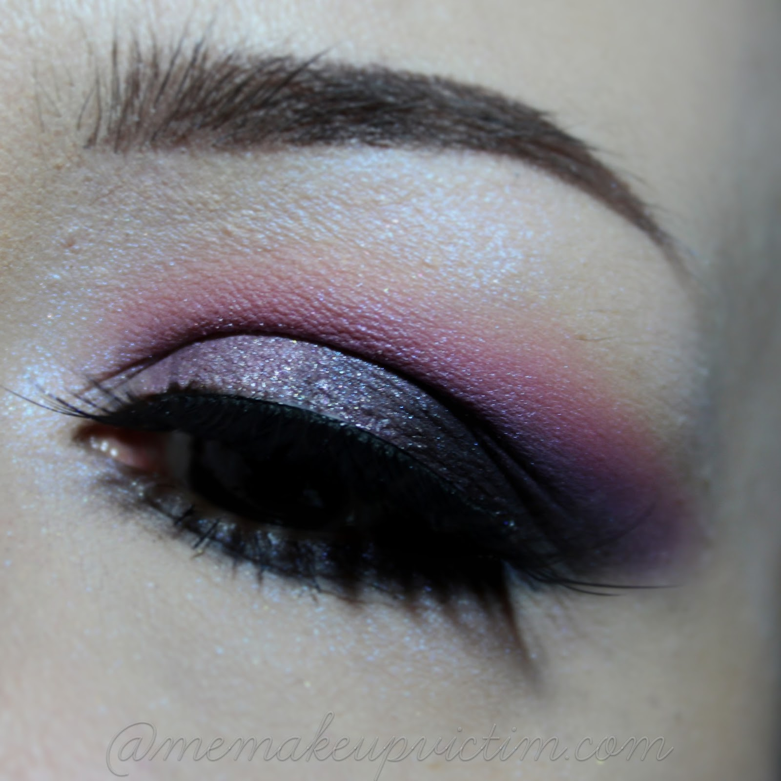 purple glitter look