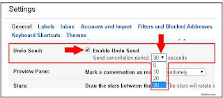 Gmail Settings Undo Send (Enable)