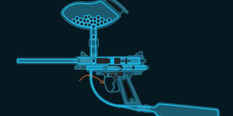 Como funciona uma arma de paintball