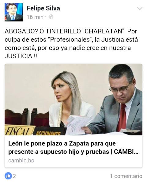 Felipe Silva califica de tinterillo al abogado León, caso Gabriela Zapata