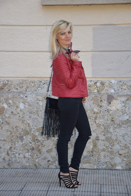red leather jacket how to wear red leather jacket red outfit may outfit spring outfit mariafelicia magno fashion blogger color block by felym fashion bloggers italy italian influencer