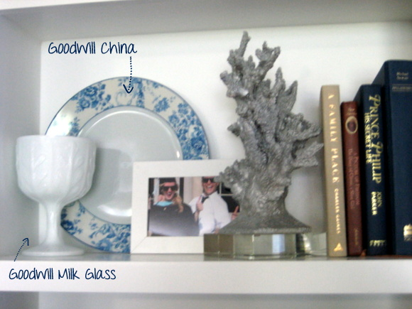 I purchased this beautiful blue and white China and this milk glass from goodwill. Accessorizing your shelves doesn't have to be expensive!