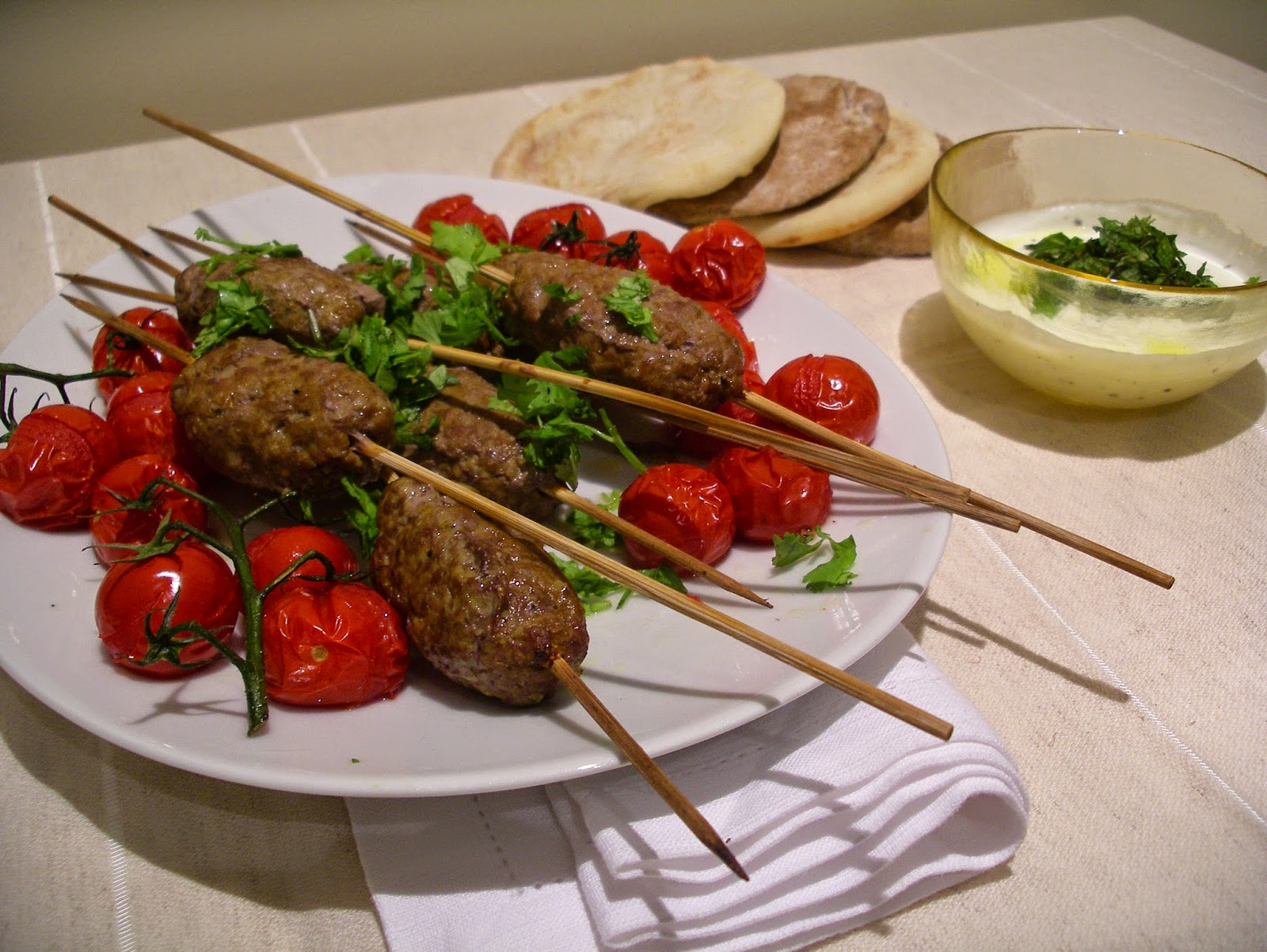 Kofta Kebabs with yogurt sauce