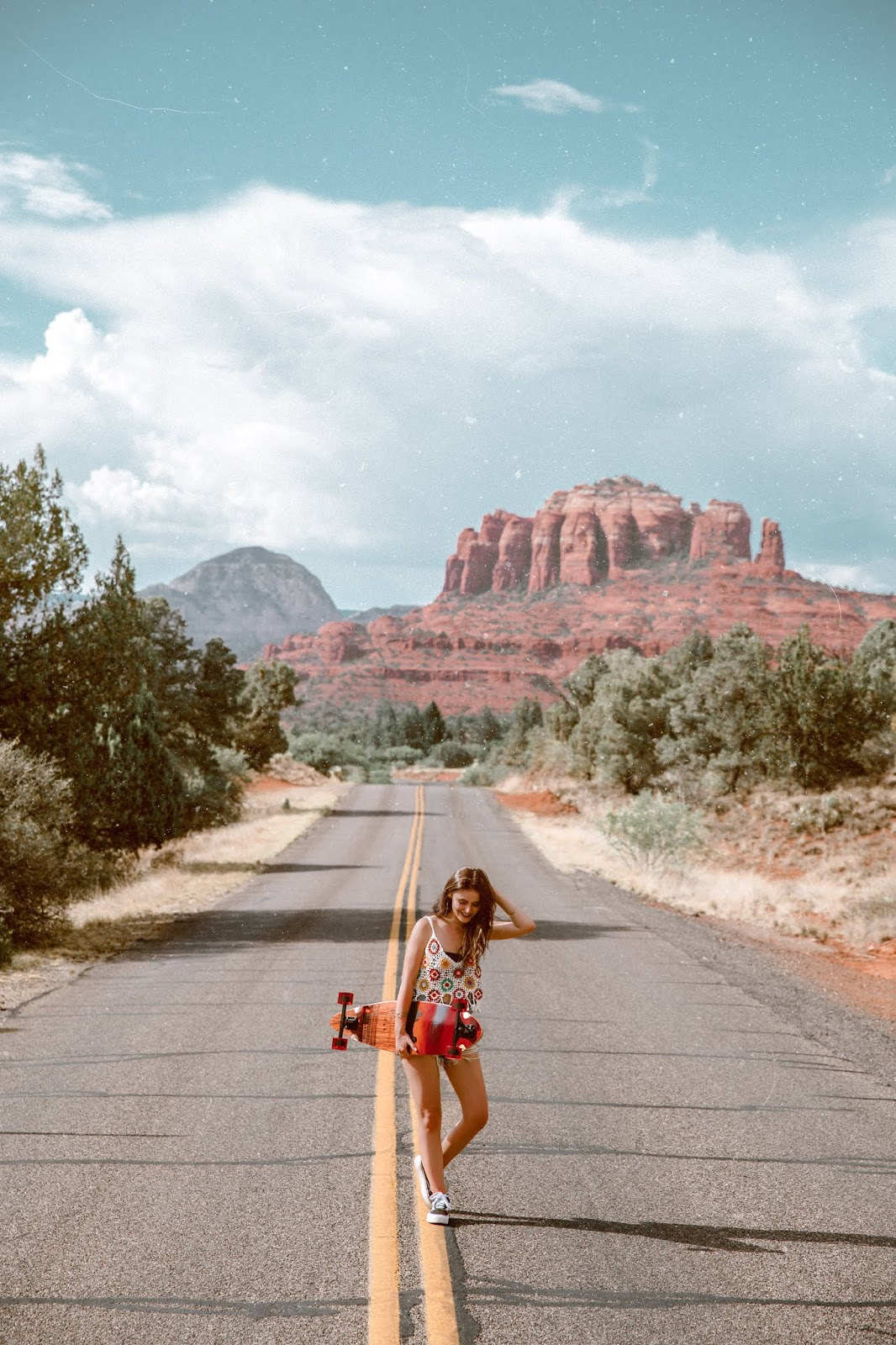 Shelly Stuckman, ArizonaGirl.com, Exodus Longboard Co, longboards, skateboards, longboarding, skateboarding, Sedona, Sedona Red Rocks, Vans