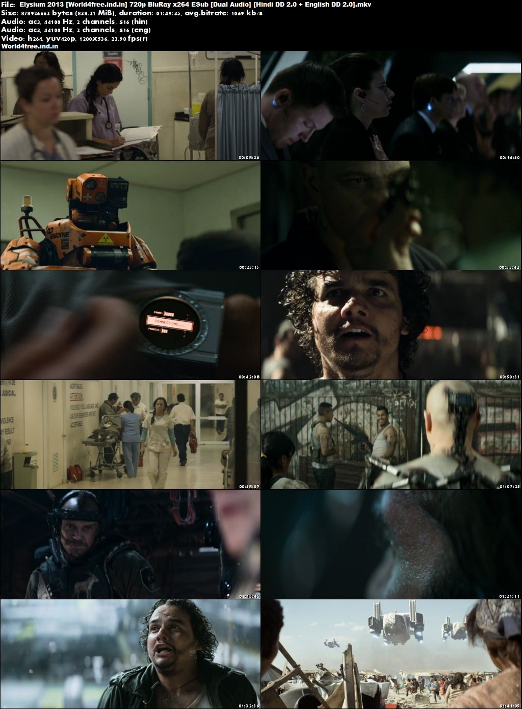 Elysium 2013 world4free.ind.in Dual Audio BRRip 1080p Hindi English ESub