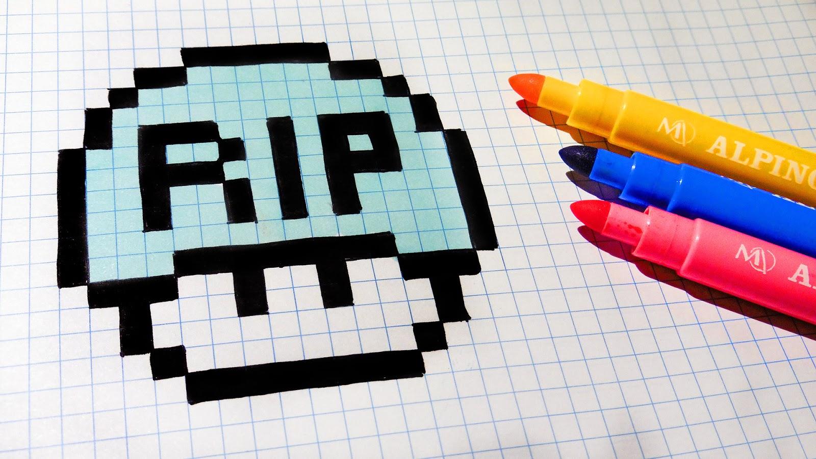 Halloween Pixel Art - How To Draw Tomb Mushroom #pixelart | Hello ...