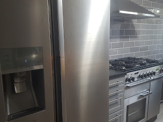 Stainless Steel Appliances in Grey Kitchen