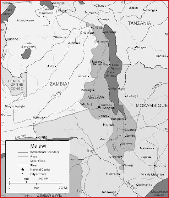 image: Black and white Malawi map