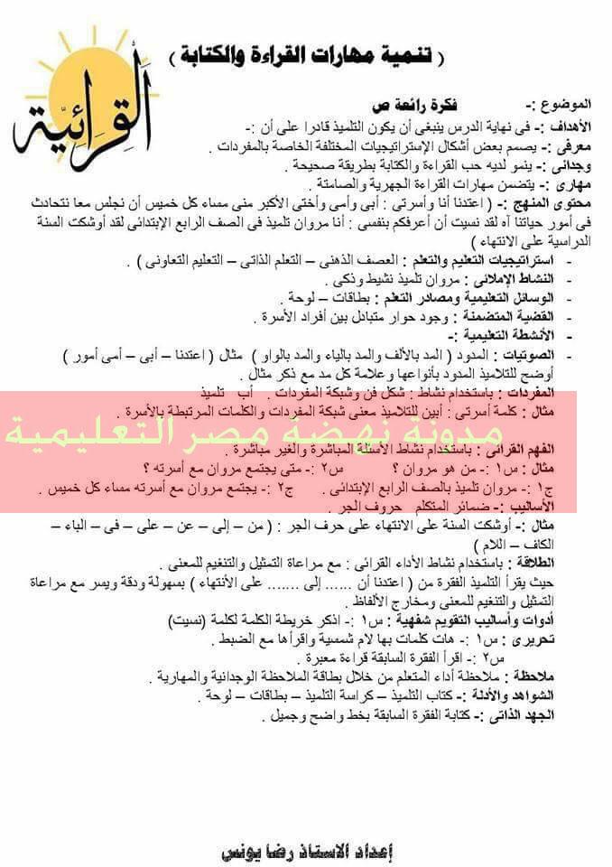 نموذج تحضير لغة عربية حديث للصف الرابع والخامس والسادس الابتدائى الترم الثانى بالقرائية روعة جدا  17203086_1311420512227444_3495030767893198496_n