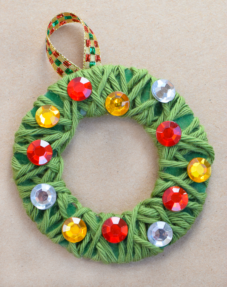 Yarn wrapped christmas wreath ornaments what can we do for Free christmas crafts for kids