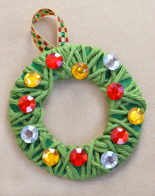 Yarn wrapped christmas wreath ornaments what can we do for 2 year old christmas ornaments crafts