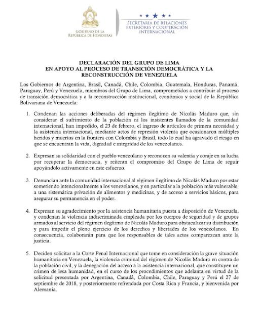 CPI debe tomar en cuenta violencia criminal del régimen de Maduro: declaración del Grupo de Lima (+ documento)