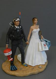 cake topper sub subacquei matrimonio tema mare pesca orme magiche