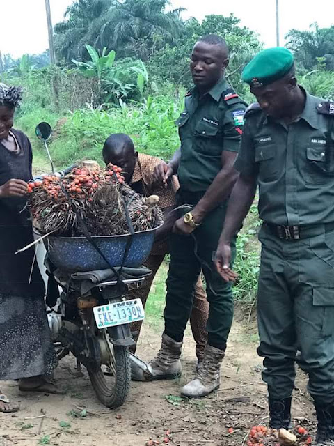 Heartwarming photos of Nigerian policemen helping an old woman tie her palm fruit bunches to a bike after they fell of