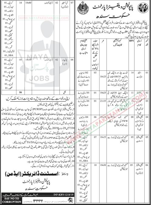 Population Welfare Department Jobs 2019 March, Jobs in Karachi