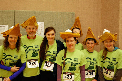 The entire Kilburn family of Franklin was among the almost 400 individuals who participated in last year's Turkey Trot. They will be trotting again this year in support of the Franklin Food Pantry. Pictured, left to right, are Molly, Chris, Maddy, Bridget, Tom, Nate, and family friend Niamh O'Sullivan of Cumberland, RI.