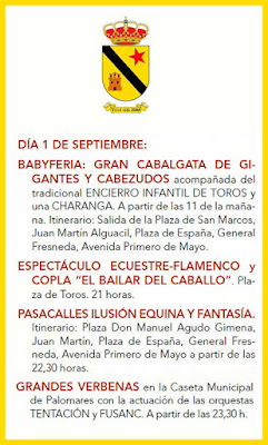 Programa de la Feria de Jódar 2017 - 1 de Septiembre
