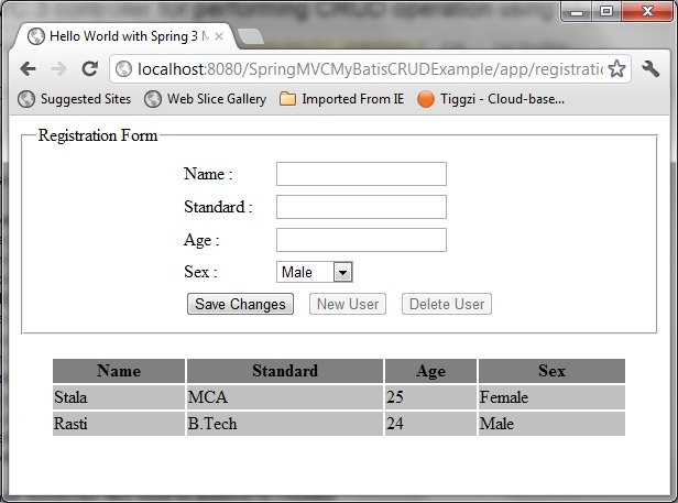 Spring MVC 3 Controller for MyBatis CRUD operation | Java
