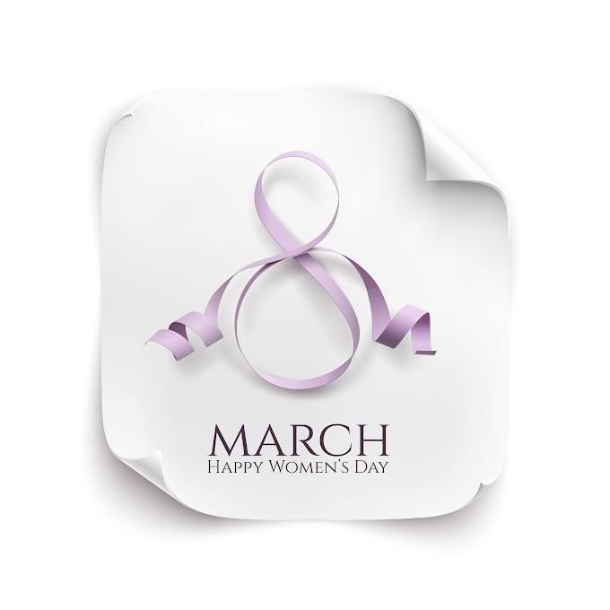 Woman day 8 march card with ribbon free vector