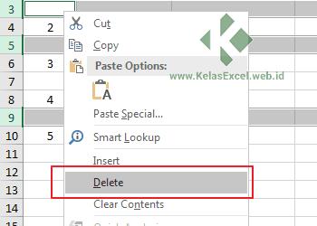 Menghapus baris kosong dengan menu delete