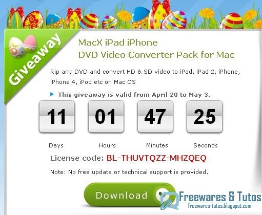 Offre promotionnelle : MacX iPad iPhone DVD Video Converter Pack gratuit !  (2ème édition)