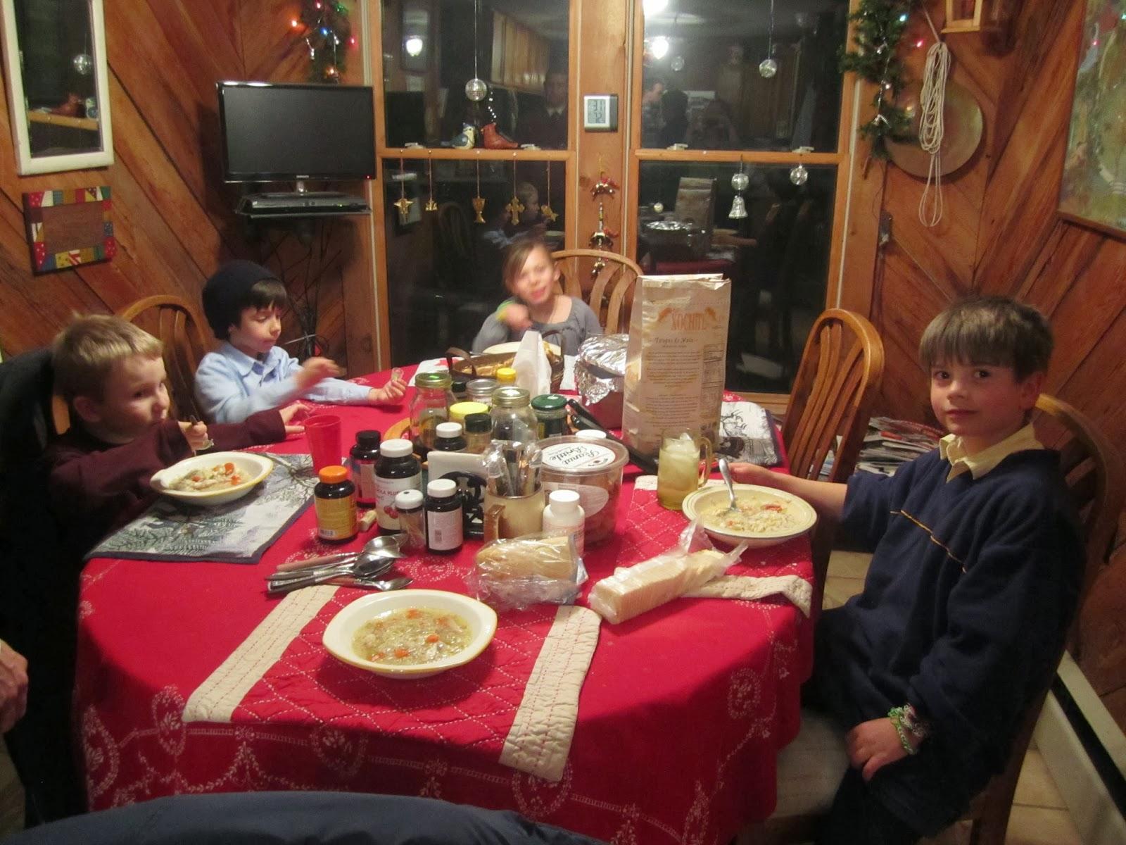 kids smiling, dinner, farm