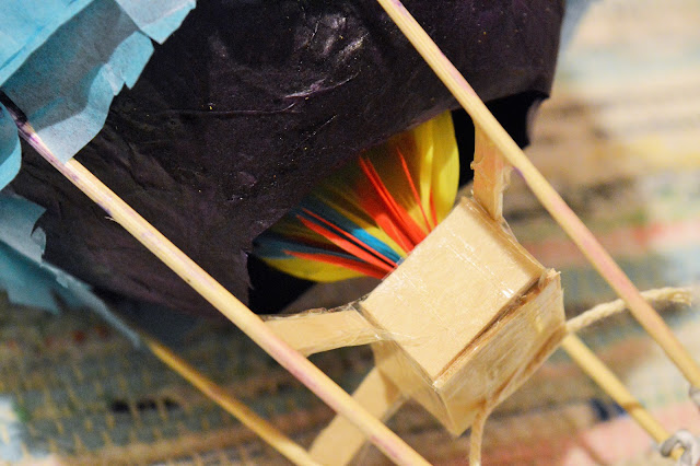 Close up of seat and flames (feathers) within the balloon.