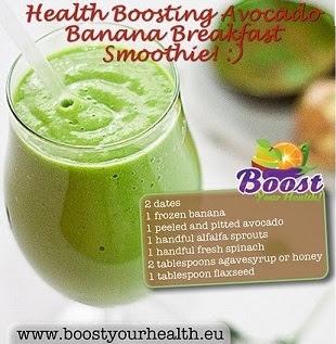 Health Boosting Avocado Banana Breakfast Smoothie. Kombinasi buah dan sayuran menjadikan smoothie ini lezat, bermanfaat untuk kulit bersinar, dan memberi energi. Cocok diminum di pagi hari sebagai sarapan yang praktis dan mengenyangkan.