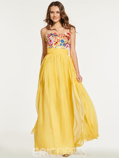 A Line Empire Embroidery Backless Prom Dress Beautiful Colors