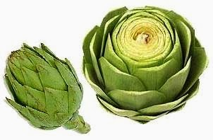 Alcachofa entera y cortada, alimento que comienza con A