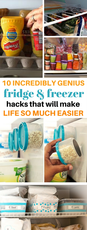 freezer hacks, fridge hacks, fridge organization tips, freezer organization tips, diy kitchen, kitchen hacks, diy home decor, diy ideas