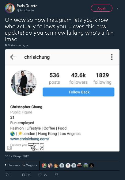 ¡Oh, wow!  Así que ahora Instagram te permite saber quién te sigue realmente… ¡me encanta esta nueva actualización!  Así que, ahora puedes estar pendiente de quién es un fan de Imao (reírse hasta partirse el trasero).