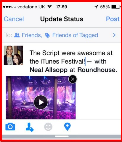 how to upload video to facebook from iphone