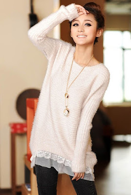 kombinasi sweater pretty and neutral, lece