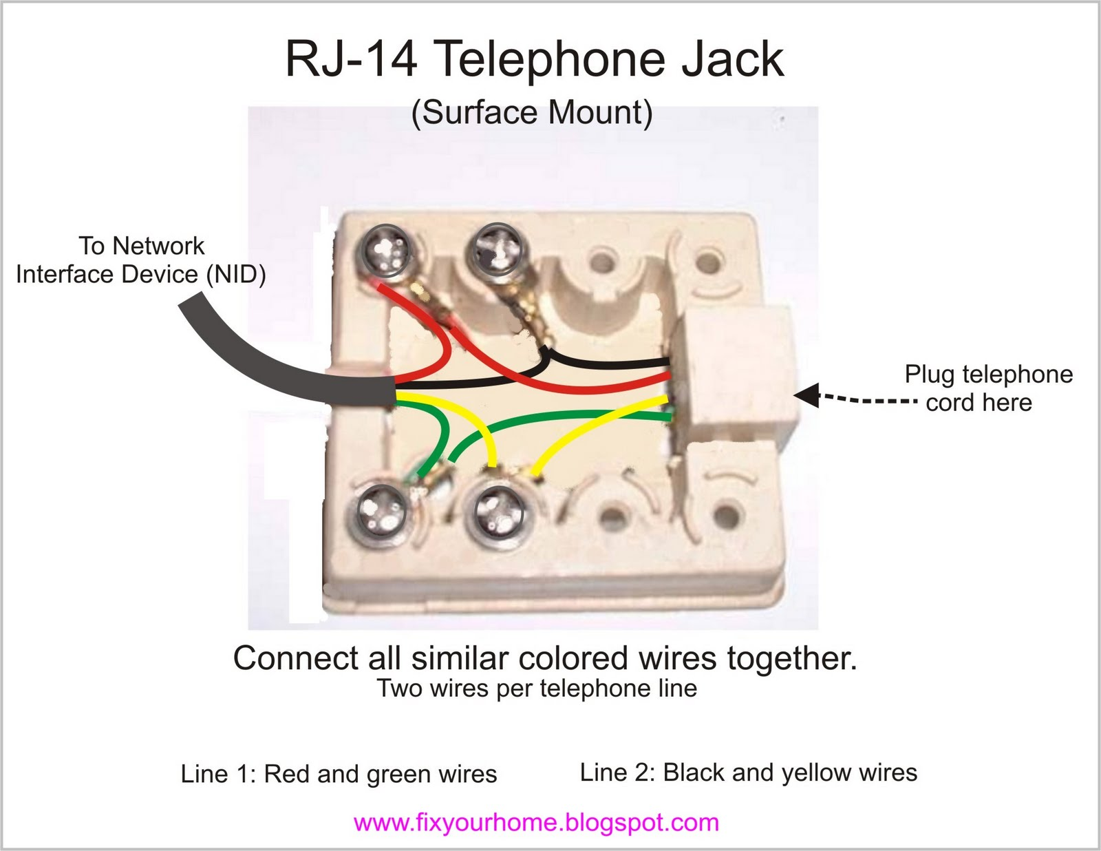 fix your home telephone phone jack wire diagram