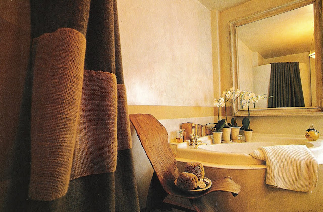 Rough linen curtain, primitive chair, bath featured in House Beautiful Spas and Baths 1999, edited by lb for linenandlavender.net