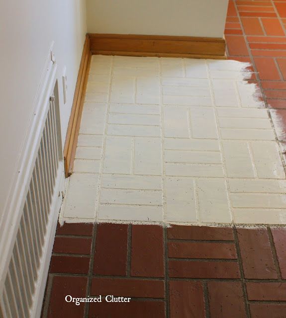 Pottery Brick Floor Wurm: Dated Vintage Vinyl Brick Tile Makeover With Annie Sloan