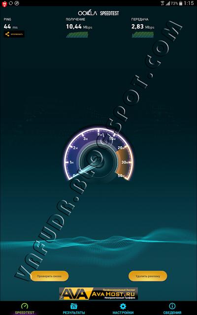 Скорость мобильного интернета у Velcom