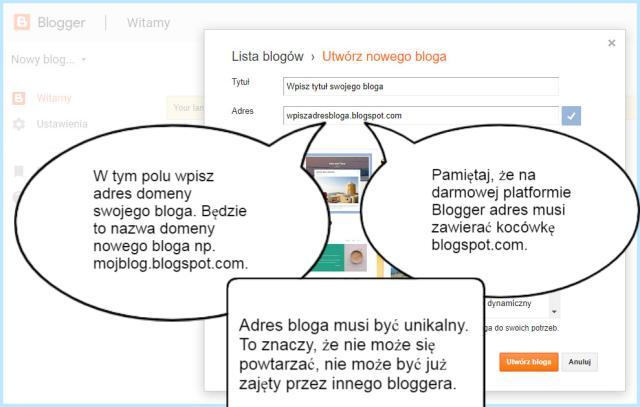 Tworzenie adresu bloga na platformie Blogger.