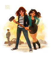 Illustration of two female characters from Katie Coyle's Vivian Apple At The End of the World