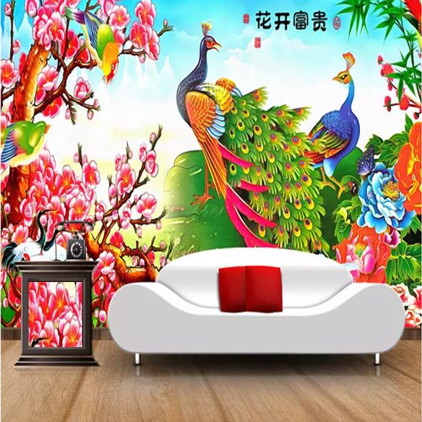 Cặp chim công tranh hoa màu đỏ