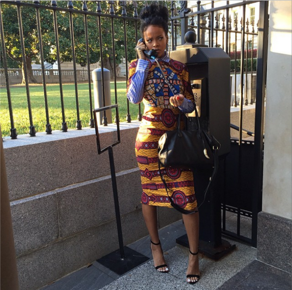 Rihanna- wearing an african print dress from stella jean