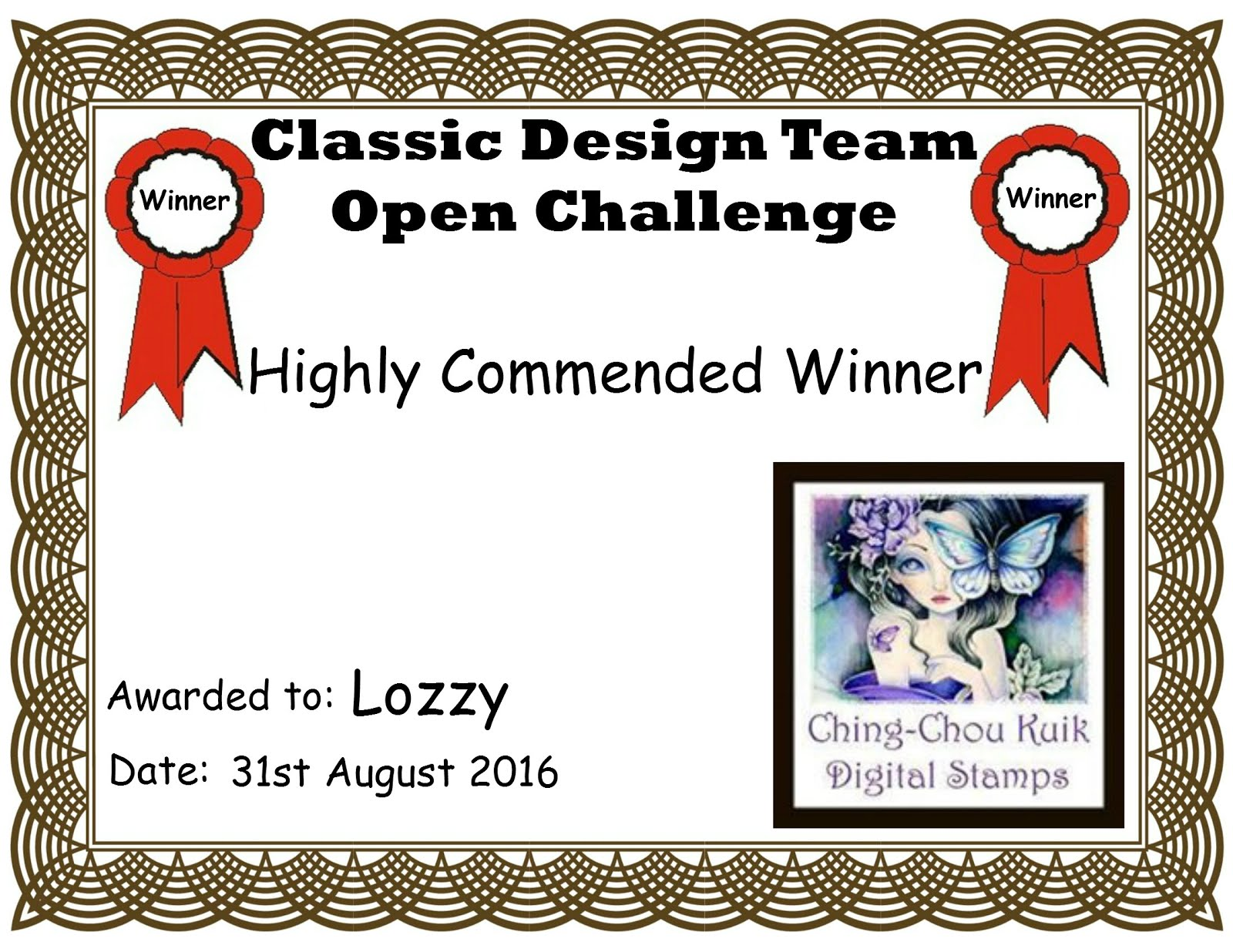 Highly Commended Winner/thank you