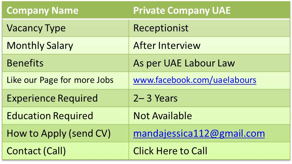 fresher receptionist jobs in uae