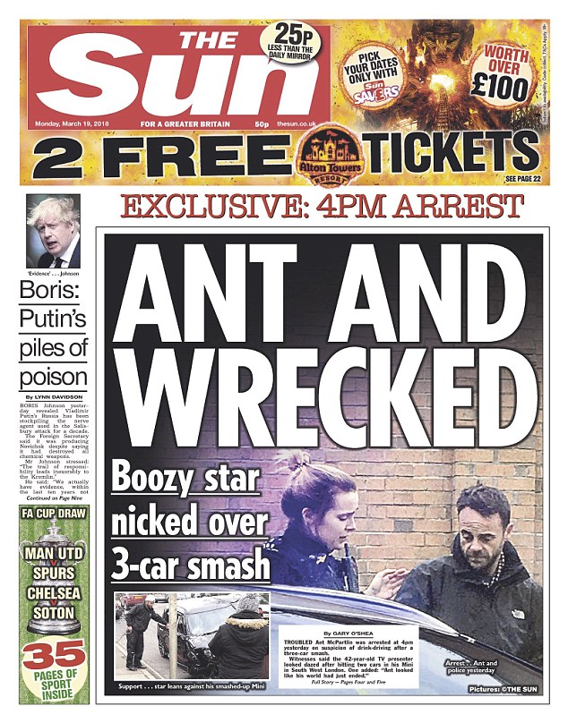 Ant McPartlin spotted for the first time since arrest for 'drink-driving' arrest, released under investigation.