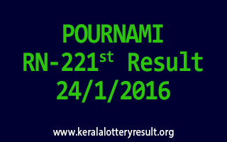 POURNAMI RN 221 Lottery Result 24-1-2016