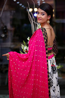 Akanksha Hot Photo Shoot In Pink Half Saree HeyAndhra
