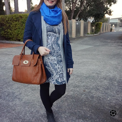 awayfromtheblue instagram mulberry bayswater with blue paisley print sheath dress layered for winter