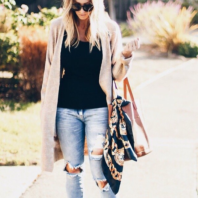 ripped jeans long cardigan parlor girl